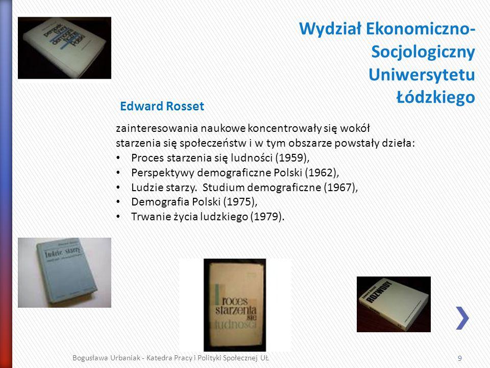 10 Bogusława Urbaniak - Katedra Pracy i Polityki Społecznej UŁ Kierownik pionierskich badań w 1948 r., przeprowadzonych m.in.