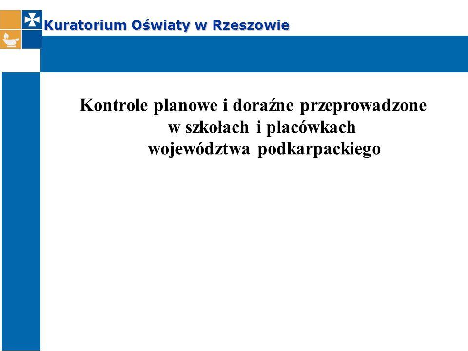Kuratorium Oświaty w Rzeszowie Kontrole planowe i doraźne przeprowadzone w szkołach i placówkach województwa podkarpackiego