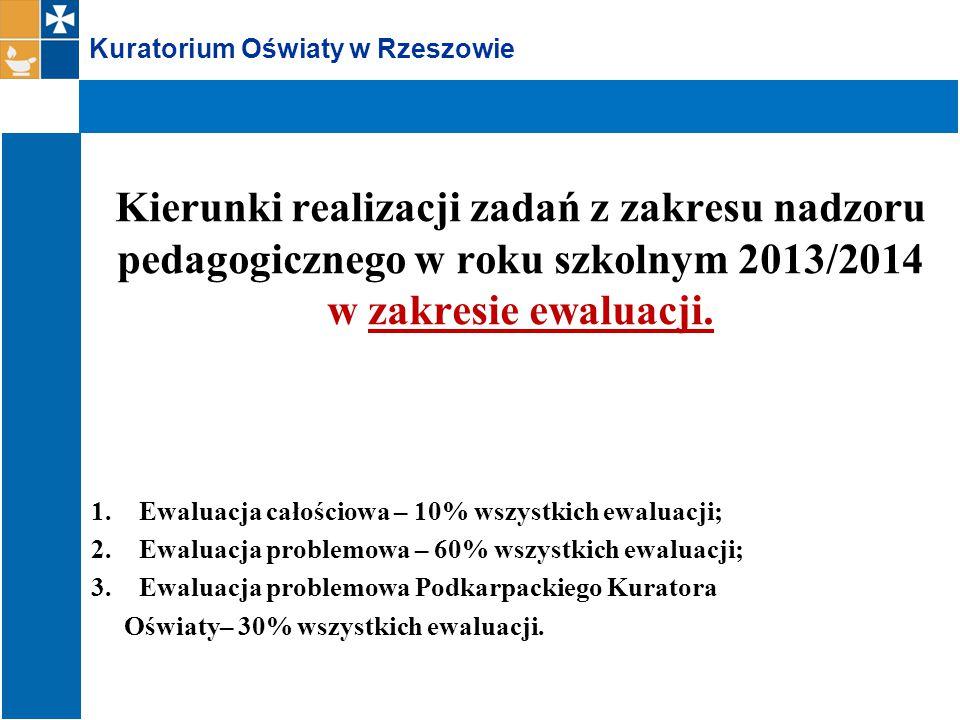 Kuratorium Oświaty w Rzeszowie Kierunki realizacji zadań z zakresu nadzoru pedagogicznego w roku szkolnym 2013/2014 w zakresie ewaluacji.