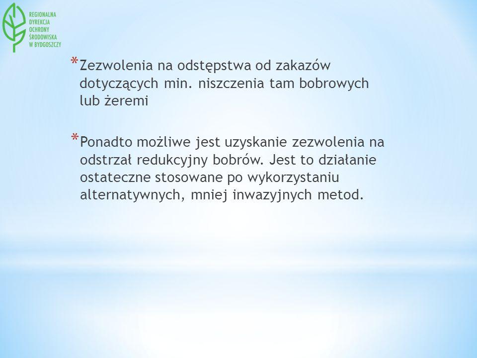 * Zezwolenia na odstępstwa od zakazów dotyczących min. niszczenia tam bobrowych lub żeremi * Ponadto możliwe jest uzyskanie zezwolenia na odstrzał red