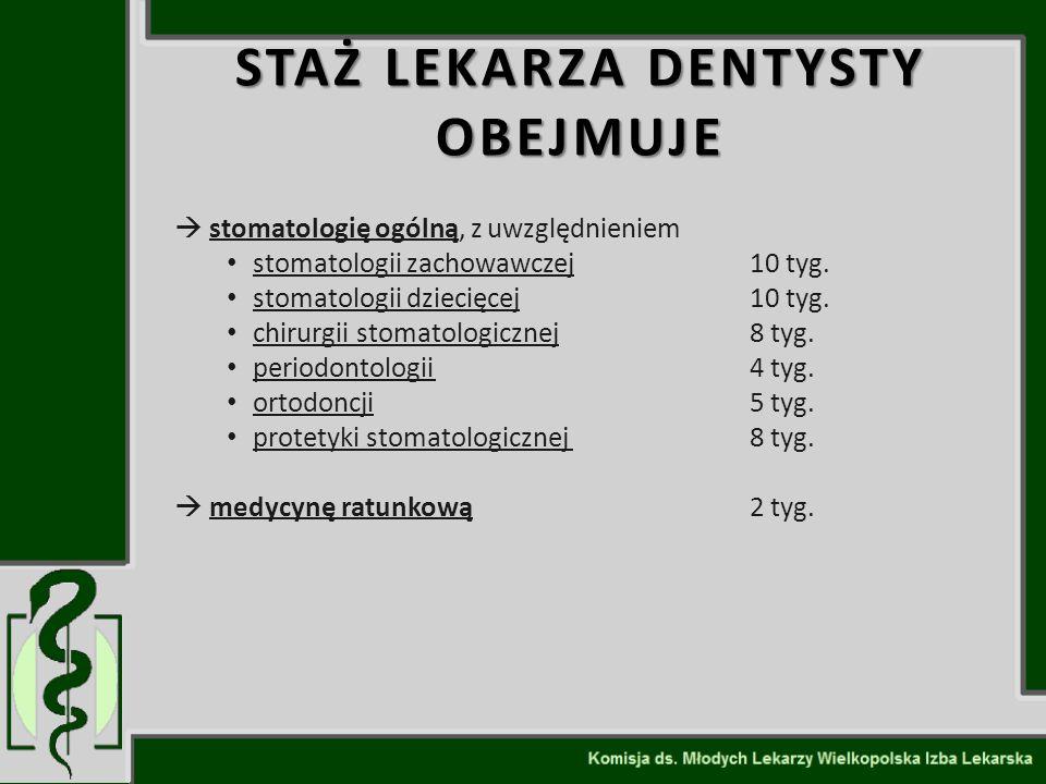  stomatologię ogólną, z uwzględnieniem stomatologii zachowawczej10 tyg. stomatologii dziecięcej10 tyg. chirurgii stomatologicznej8 tyg. periodontolog