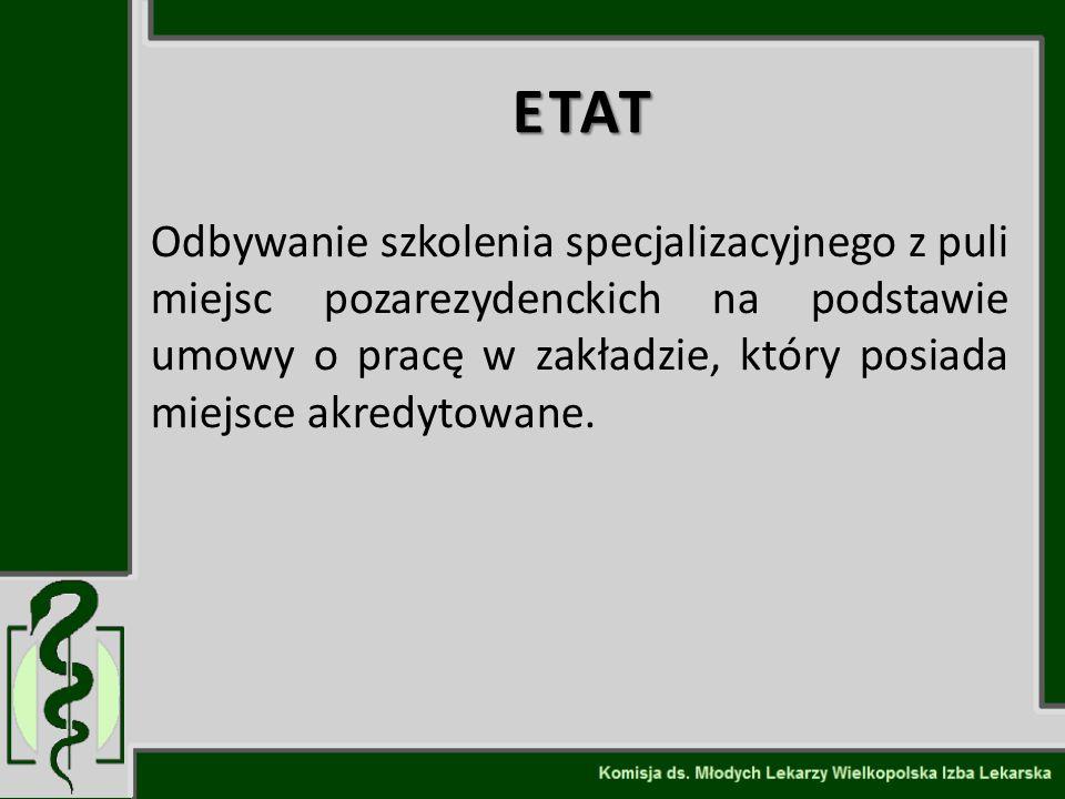 ETAT Odbywanie szkolenia specjalizacyjnego z puli miejsc pozarezydenckich na podstawie umowy o pracę w zakładzie, który posiada miejsce akredytowane.