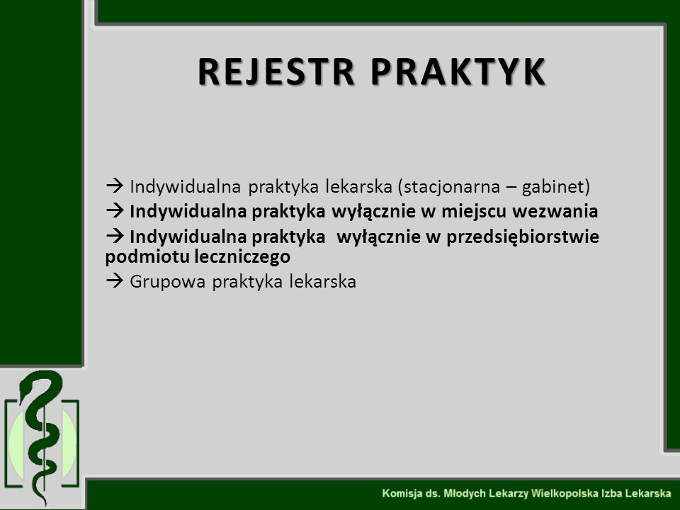 REJESTR PRAKTYK  Indywidualna praktyka lekarska (stacjonarna – gabinet)  Indywidualna praktyka wyłącznie w miejscu wezwania  Indywidualna praktyka
