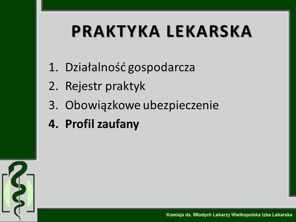 PRAKTYKA LEKARSKA 1.Działalność gospodarcza 2.Rejestr praktyk 3.Obowiązkowe ubezpieczenie 4.Profil zaufany