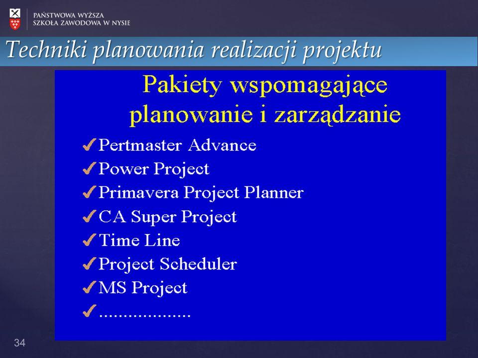 34 Techniki planowania realizacji projektu
