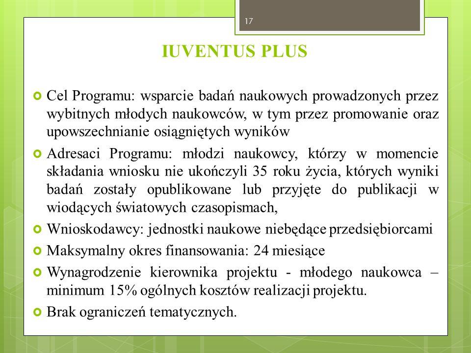 IUVENTUS PLUS  Cel Programu: wsparcie badań naukowych prowadzonych przez wybitnych młodych naukowców, w tym przez promowanie oraz upowszechnianie osi