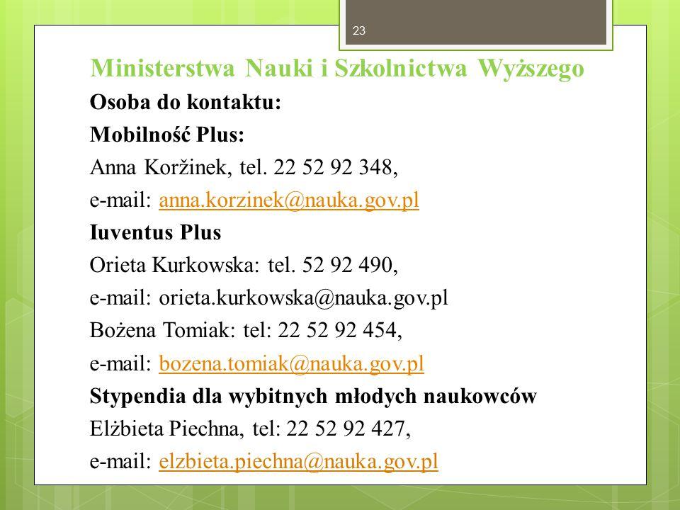 Ministerstwa Nauki i Szkolnictwa Wyższego Osoba do kontaktu: Mobilność Plus: Anna Koržinek, tel. 22 52 92 348, e-mail: anna.korzinek@nauka.gov.planna.