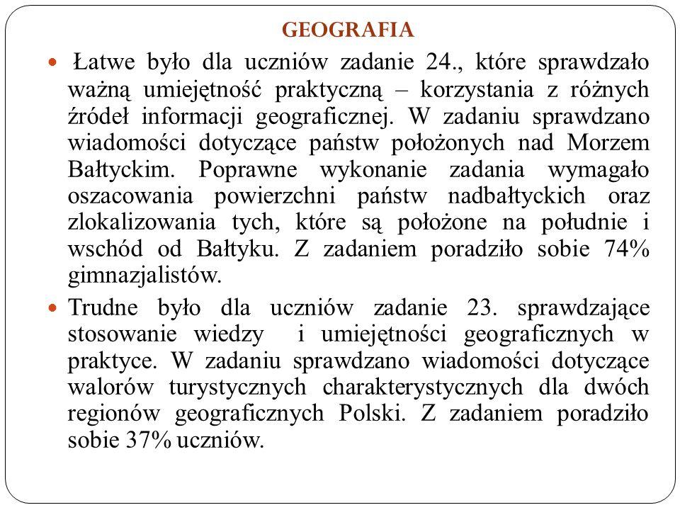 GEOGRAFIA Łatwe było dla uczniów zadanie 24., które sprawdzało ważną umiejętność praktyczną – korzystania z różnych źródeł informacji geograficznej.