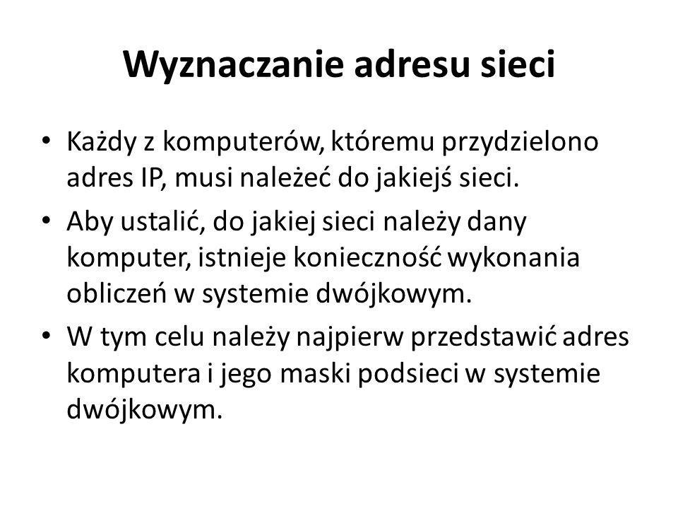Wyznaczanie adresu sieci Każdy z komputerów, któremu przydzielono adres IP, musi należeć do jakiejś sieci. Aby ustalić, do jakiej sieci należy dany ko