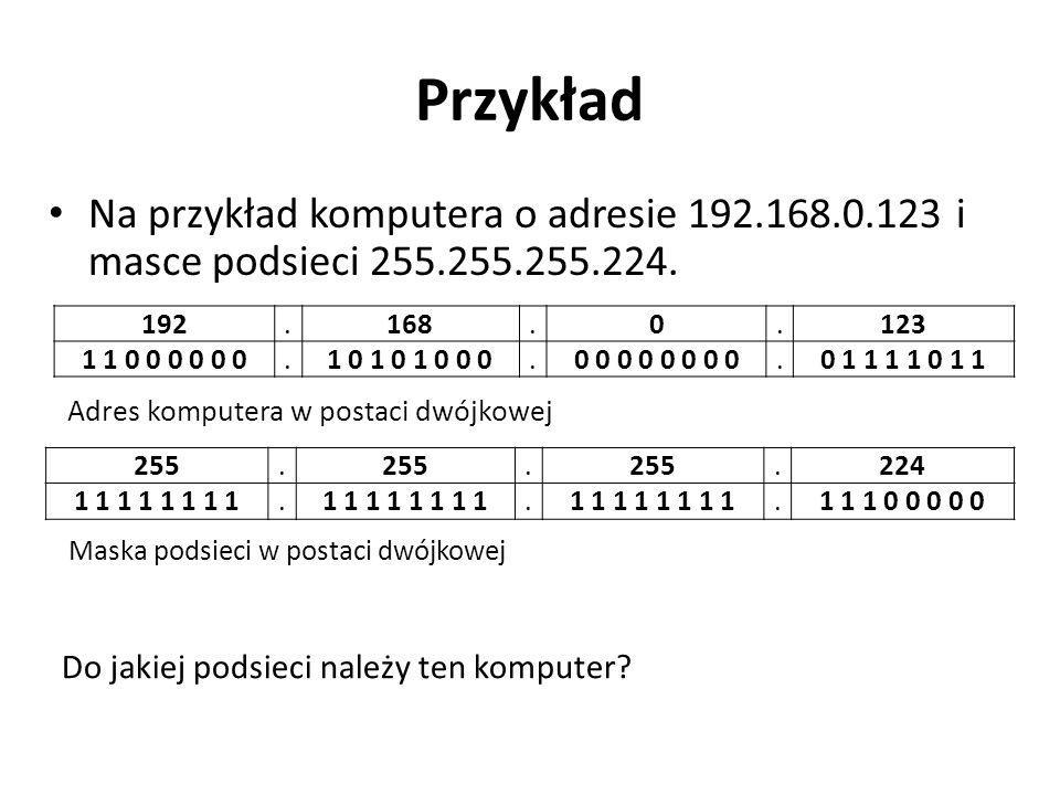 Przykład Na przykład komputera o adresie 192.168.0.123 i masce podsieci 255.255.255.224. 192.168.0.123 1 1 0 0 0 0 0 0.1 0 1 0 1 0 0 0.0 0 0 0.0 1 1 1