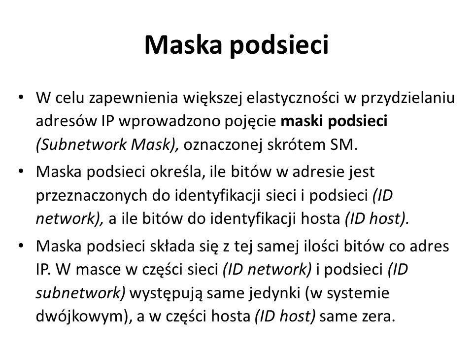 Maska podsieci W celu zapewnienia większej elastyczności w przydzielaniu adresów IP wprowadzono pojęcie maski podsieci (Subnetwork Mask), oznaczonej s