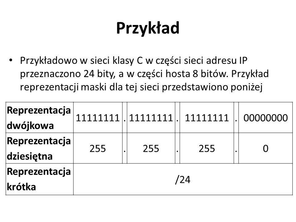 Przykład Przykładowo w sieci klasy C w części sieci adresu IP przeznaczono 24 bity, a w części hosta 8 bitów. Przykład reprezentacji maski dla tej sie