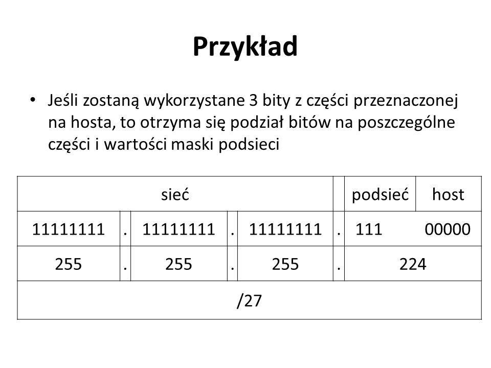 Przykład Jeśli zostaną wykorzystane 3 bity z części przeznaczonej na hosta, to otrzyma się podział bitów na poszczególne części i wartości maski podsi