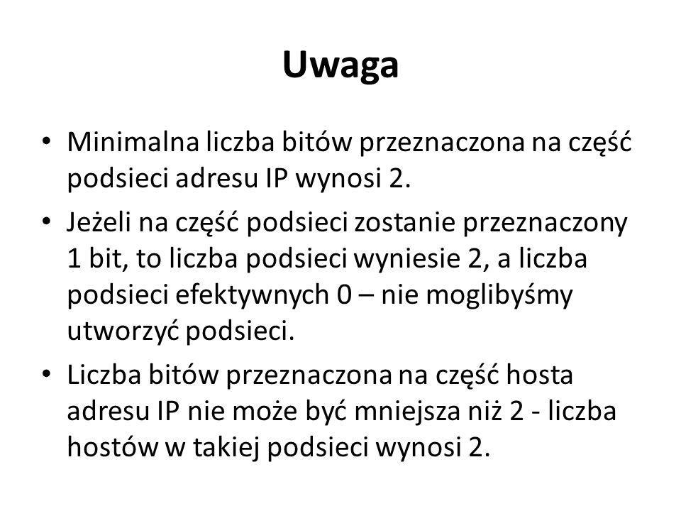 Uwaga Minimalna liczba bitów przeznaczona na część podsieci adresu IP wynosi 2. Jeżeli na część podsieci zostanie przeznaczony 1 bit, to liczba podsie