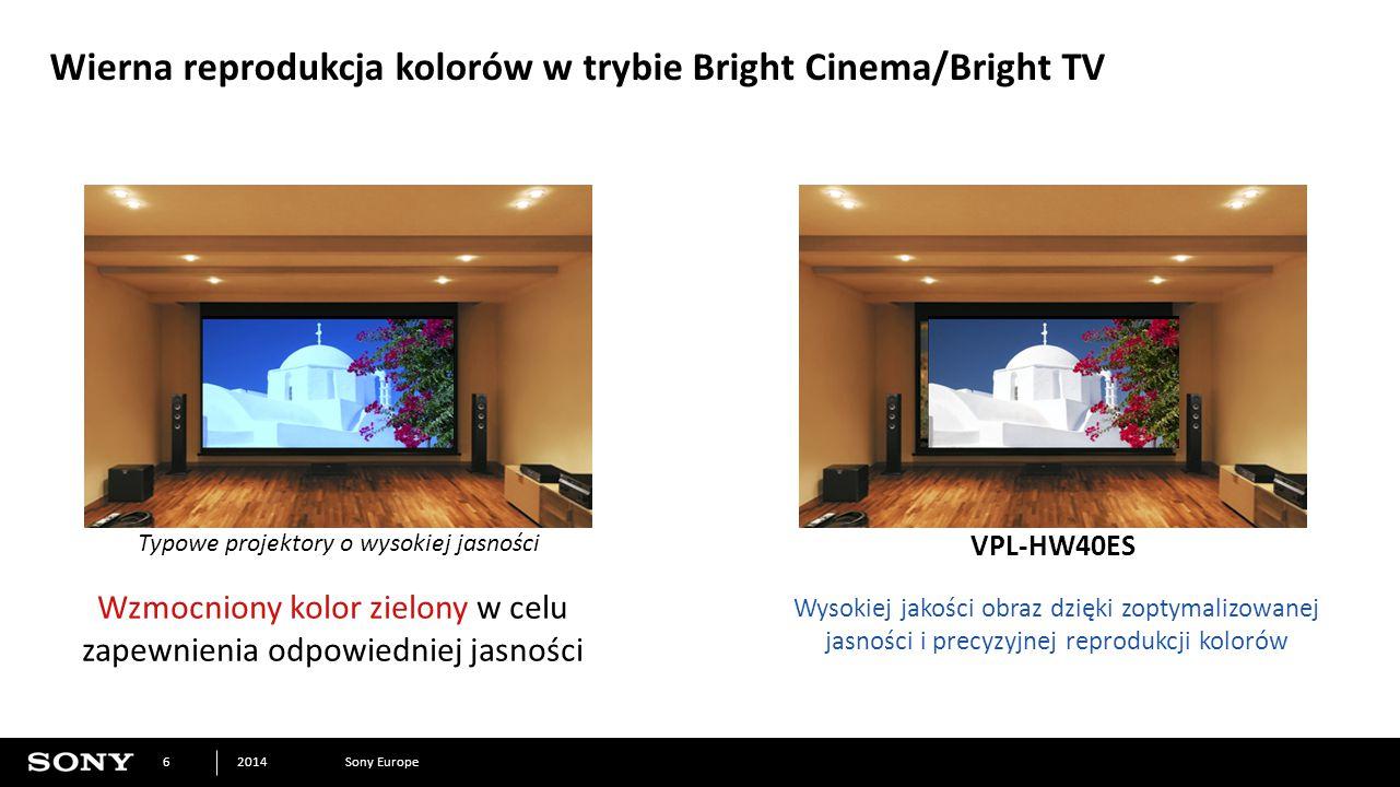 Sony Europe2014 6 Wierna reprodukcja kolorów w trybie Bright Cinema/Bright TV Wysokiej jakości obraz dzięki zoptymalizowanej jasności i precyzyjnej reprodukcji kolorów Typowe projektory o wysokiej jasności VPL-HW40ES Wzmocniony kolor zielony w celu zapewnienia odpowiedniej jasności *Obraz symulowany