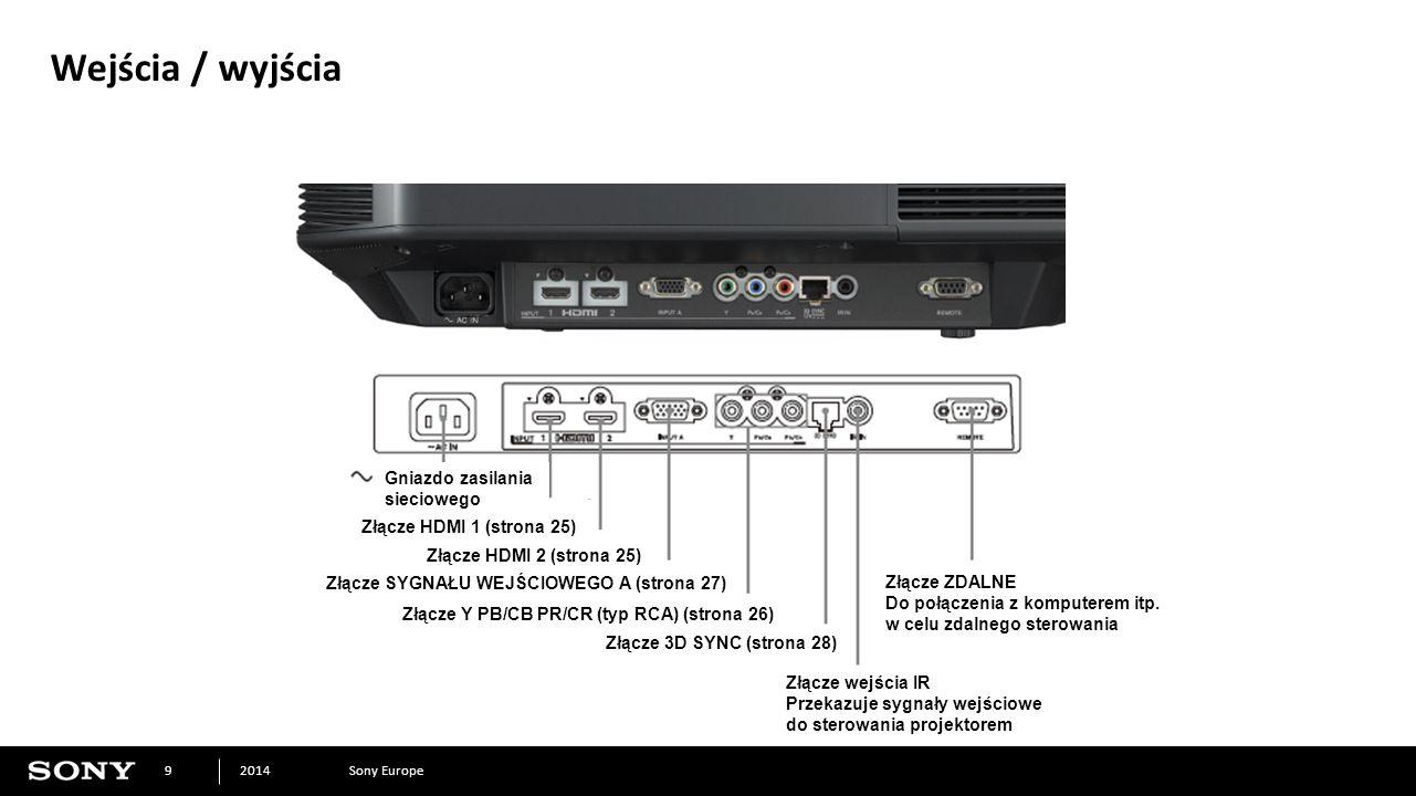 Sony Europe2014 9 Wejścia / wyjścia Gniazdo zasilania sieciowego Złącze HDMI 1 (strona 25) Złącze HDMI 2 (strona 25) Złącze SYGNAŁU WEJŚCIOWEGO A (strona 27) Złącze Y PB/CB PR/CR (typ RCA) (strona 26) Złącze 3D SYNC (strona 28) Złącze wejścia IR Przekazuje sygnały wejściowe do sterowania projektorem Złącze ZDALNE Do połączenia z komputerem itp.