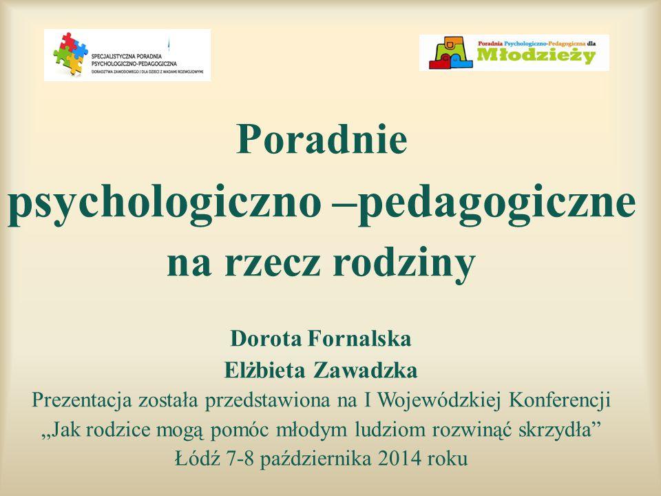 Poradnie psychologiczno –pedagogiczne na rzecz rodziny Dorota Fornalska Elżbieta Zawadzka Prezentacja została przedstawiona na I Wojewódzkiej Konferen