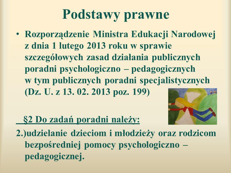 Podstawy prawne Rozporządzenie Ministra Edukacji Narodowej z dnia 1 lutego 2013 roku w sprawie szczegółowych zasad działania publicznych poradni psych