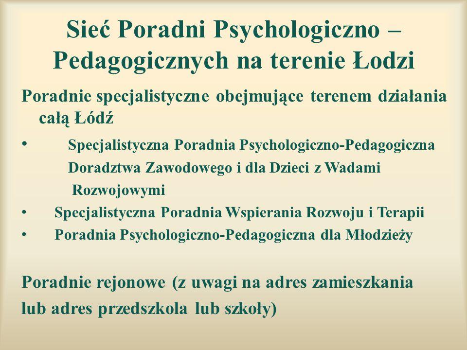 Sieć Poradni Psychologiczno – Pedagogicznych na terenie Łodzi Poradnie specjalistyczne obejmujące terenem działania całą Łódź Specjalistyczna Poradnia