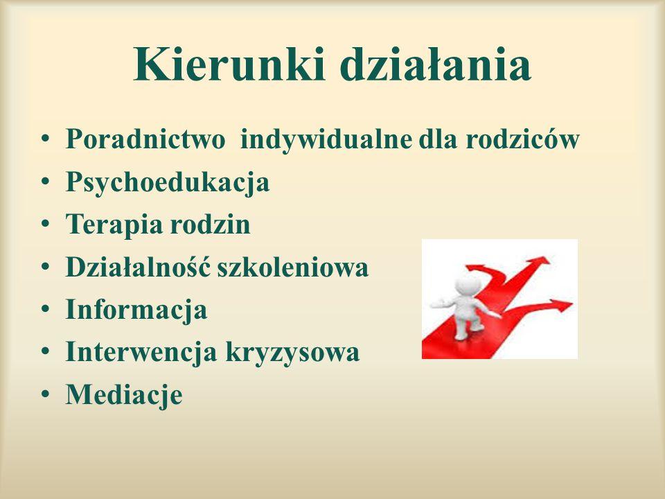 Kierunki działania Poradnictwo indywidualne dla rodziców Psychoedukacja Terapia rodzin Działalność szkoleniowa Informacja Interwencja kryzysowa Mediac