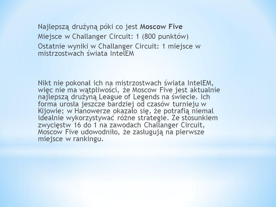 Najlepszą drużyną póki co jest Moscow Five Miejsce w Challanger Circuit: 1 (800 punktów) Ostatnie wyniki w Challanger Circuit: 1 miejsce w mistrzostwa