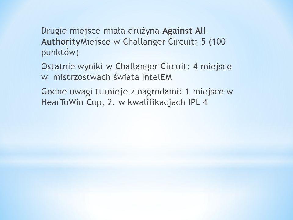 Drugie miejsce miała drużyna Against All AuthorityMiejsce w Challanger Circuit: 5 (100 punktów) Ostatnie wyniki w Challanger Circuit: 4 miejsce w mist
