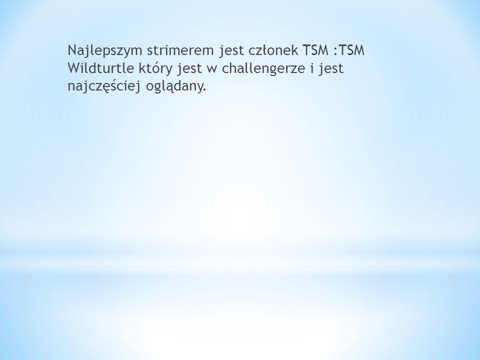 Najlepszym strimerem jest członek TSM :TSM Wildturtle który jest w challengerze i jest najczęściej oglądany.