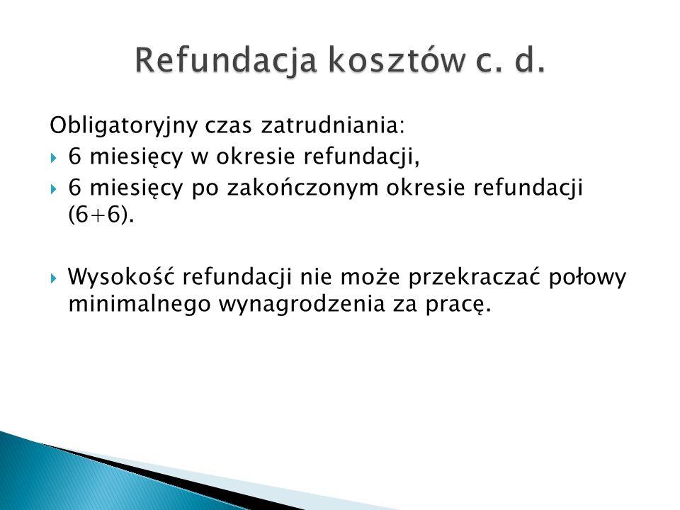 Obligatoryjny czas zatrudniania:  6 miesięcy w okresie refundacji,  6 miesięcy po zakończonym okresie refundacji (6+6).  Wysokość refundacji nie mo