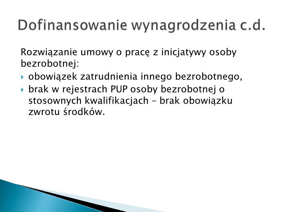 Rozwiązanie umowy o pracę z inicjatywy osoby bezrobotnej:  obowiązek zatrudnienia innego bezrobotnego,  brak w rejestrach PUP osoby bezrobotnej o st