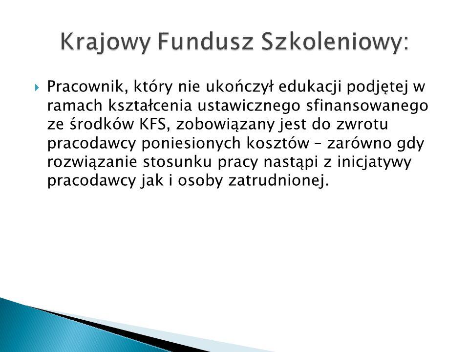  Pracownik, który nie ukończył edukacji podjętej w ramach kształcenia ustawicznego sfinansowanego ze środków KFS, zobowiązany jest do zwrotu pracodaw
