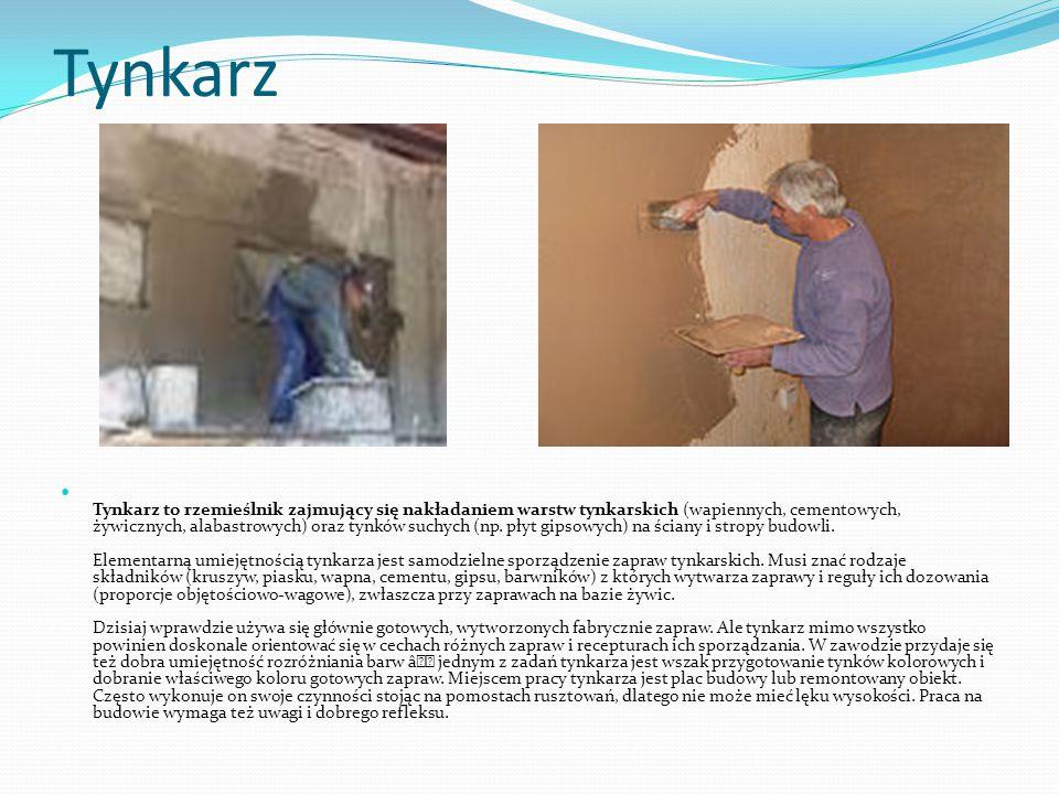 Tynkarz Tynkarz to rzemieślnik zajmujący się nakładaniem warstw tynkarskich (wapiennych, cementowych, żywicznych, alabastrowych) oraz tynków suchych (