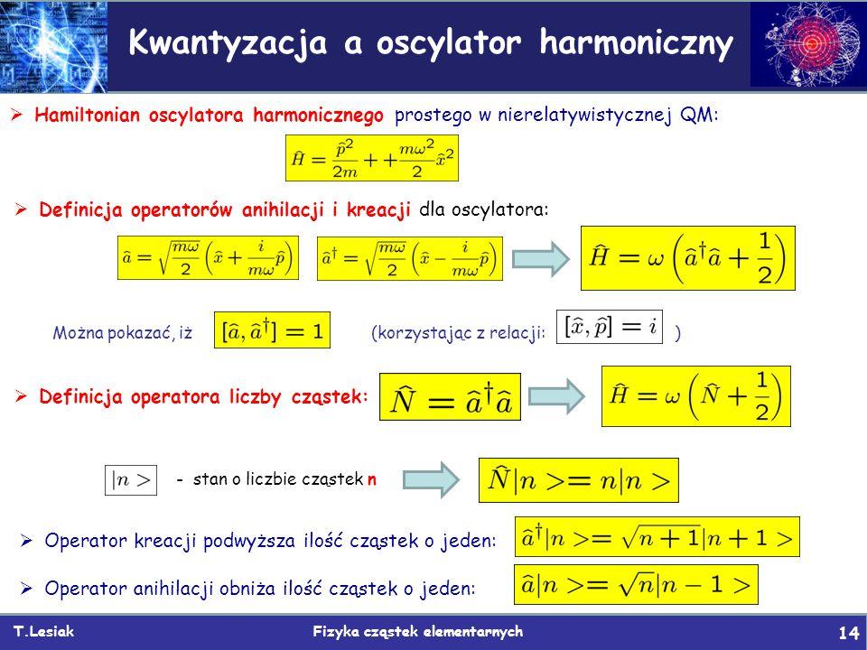 T.Lesiak Fizyka cząstek elementarnych 14 Kwantyzacja a oscylator harmoniczny  Hamiltonian oscylatora harmonicznego prostego w nierelatywistycznej QM: