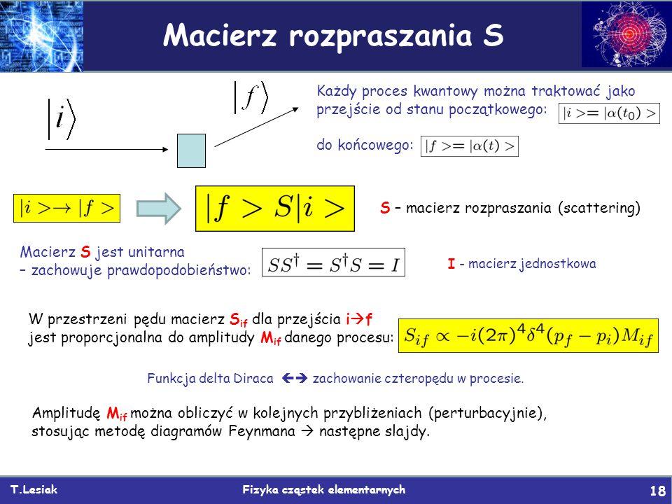 T.Lesiak Fizyka cząstek elementarnych 18 Macierz rozpraszania S W przestrzeni pędu macierz S if dla przejścia i  f jest proporcjonalna do amplitudy M if danego procesu: Każdy proces kwantowy można traktować jako przejście od stanu początkowego: do końcowego: S – macierz rozpraszania (scattering) Macierz S jest unitarna – zachowuje prawdopodobieństwo: I - macierz jednostkowa Funkcja delta Diraca  zachowanie czteropędu w procesie.