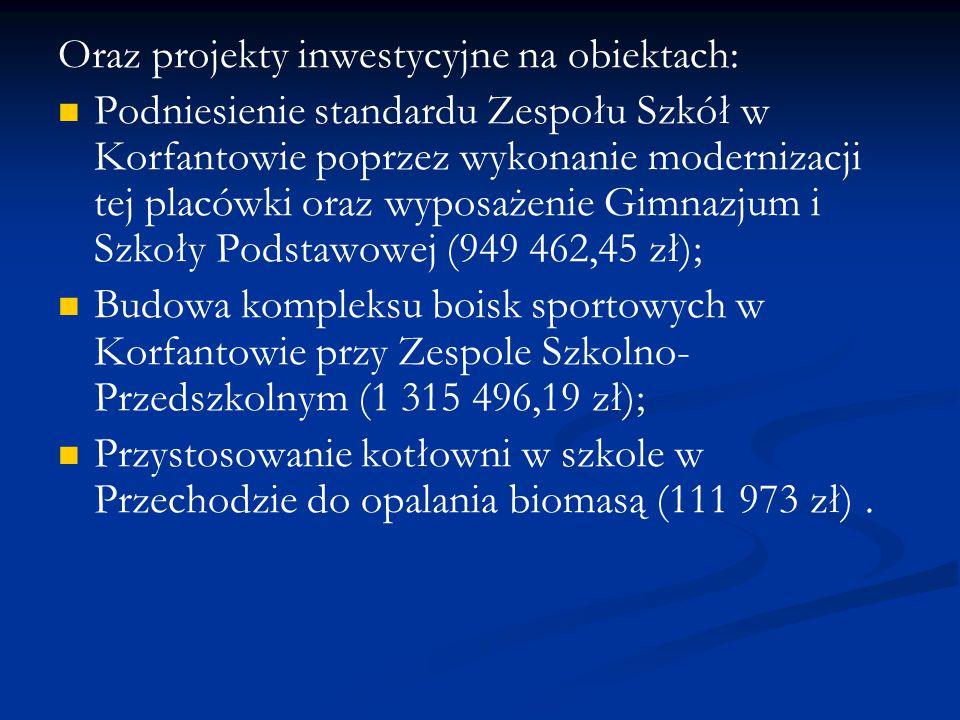 Oraz projekty inwestycyjne na obiektach: Podniesienie standardu Zespołu Szkół w Korfantowie poprzez wykonanie modernizacji tej placówki oraz wyposażen