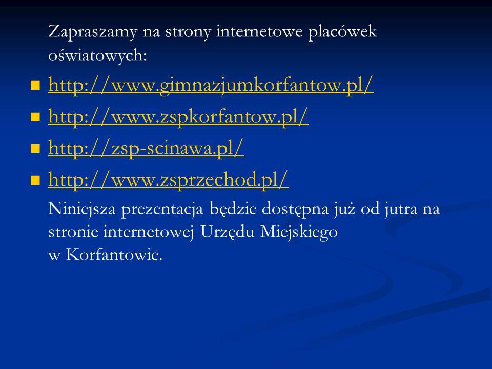 Zapraszamy na strony internetowe placówek oświatowych: http://www.gimnazjumkorfantow.pl/ http://www.zspkorfantow.pl/ http://zsp-scinawa.pl/ http://www