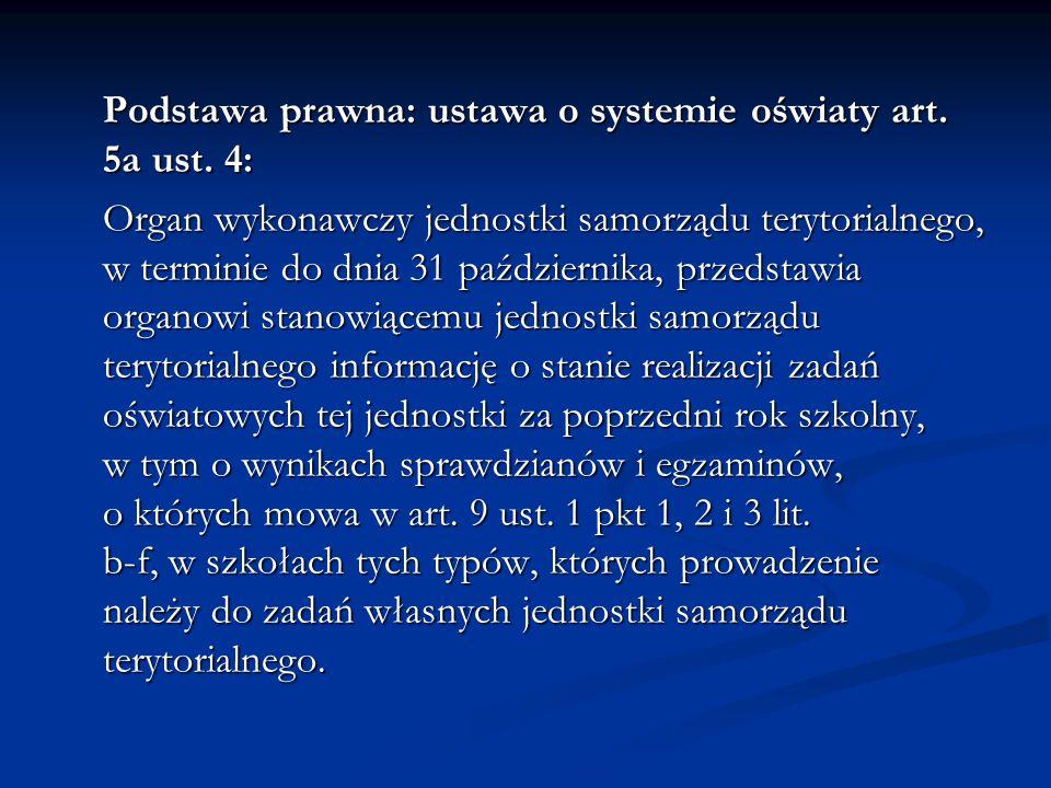 Podstawa prawna: ustawa o systemie oświaty art. 5a ust. 4: Organ wykonawczy jednostki samorządu terytorialnego, w terminie do dnia 31 października, pr