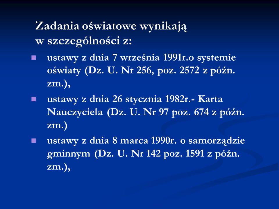 Zadania oświatowe wynikają w szczególności z: ustawy z dnia 7 września 1991r.o systemie oświaty (Dz. U. Nr 256, poz. 2572 z późn. zm.), ustawy z dnia