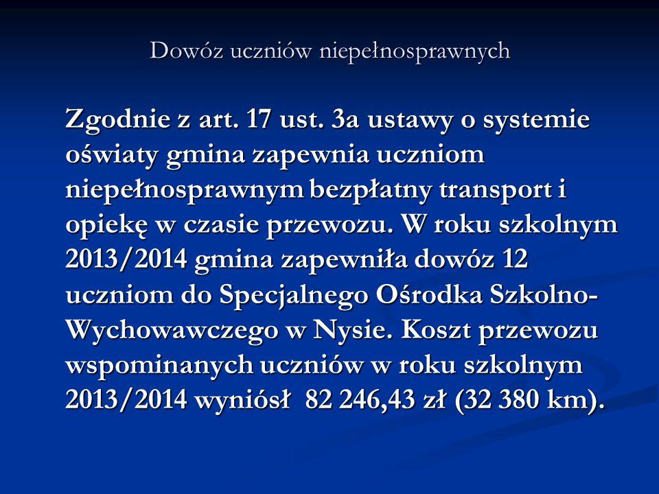 Dowóz uczniów niepełnosprawnych Zgodnie z art. 17 ust. 3a ustawy o systemie oświaty gmina zapewnia uczniom niepełnosprawnym bezpłatny transport i opie