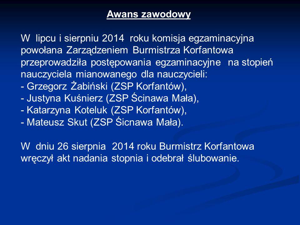 Awans zawodowy W lipcu i sierpniu 2014 roku komisja egzaminacyjna powołana Zarządzeniem Burmistrza Korfantowa przeprowadziła postępowania egzaminacyjn