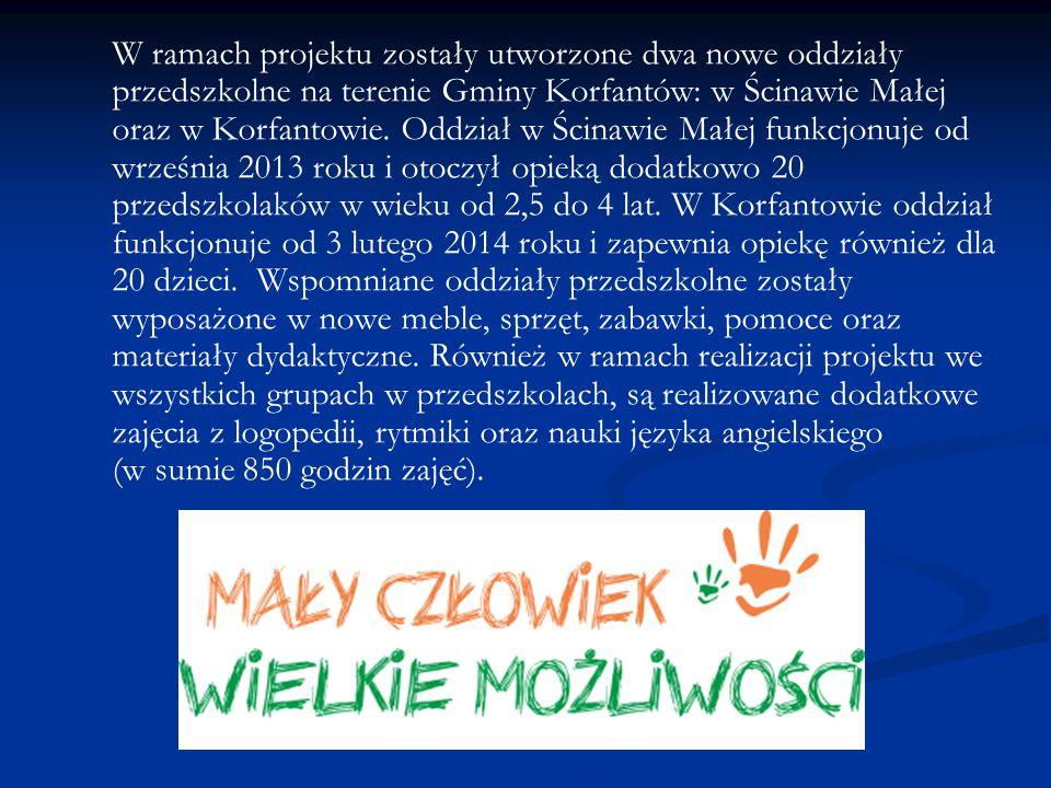 W ramach projektu zostały utworzone dwa nowe oddziały przedszkolne na terenie Gminy Korfantów: w Ścinawie Małej oraz w Korfantowie. Oddział w Ścinawie