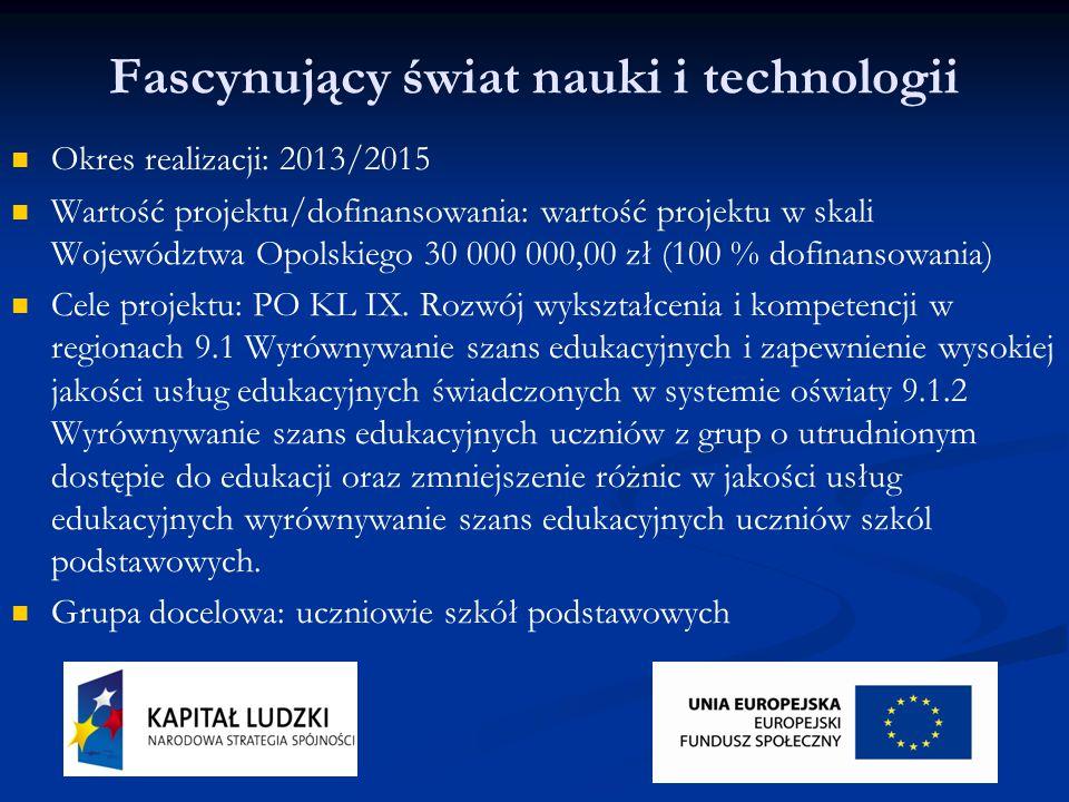 Fascynujący świat nauki i technologii Okres realizacji: 2013/2015 Wartość projektu/dofinansowania: wartość projektu w skali Województwa Opolskiego 30