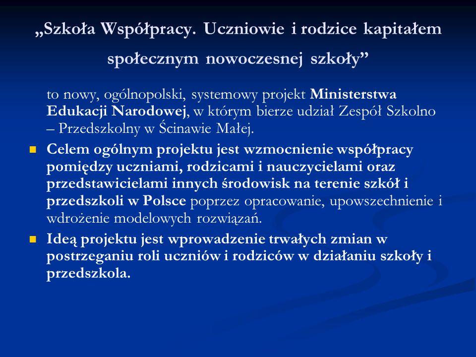 """""""Szkoła Współpracy. Uczniowie i rodzice kapitałem społecznym nowoczesnej szkoły"""" to nowy, ogólnopolski, systemowy projekt Ministerstwa Edukacji Narodo"""