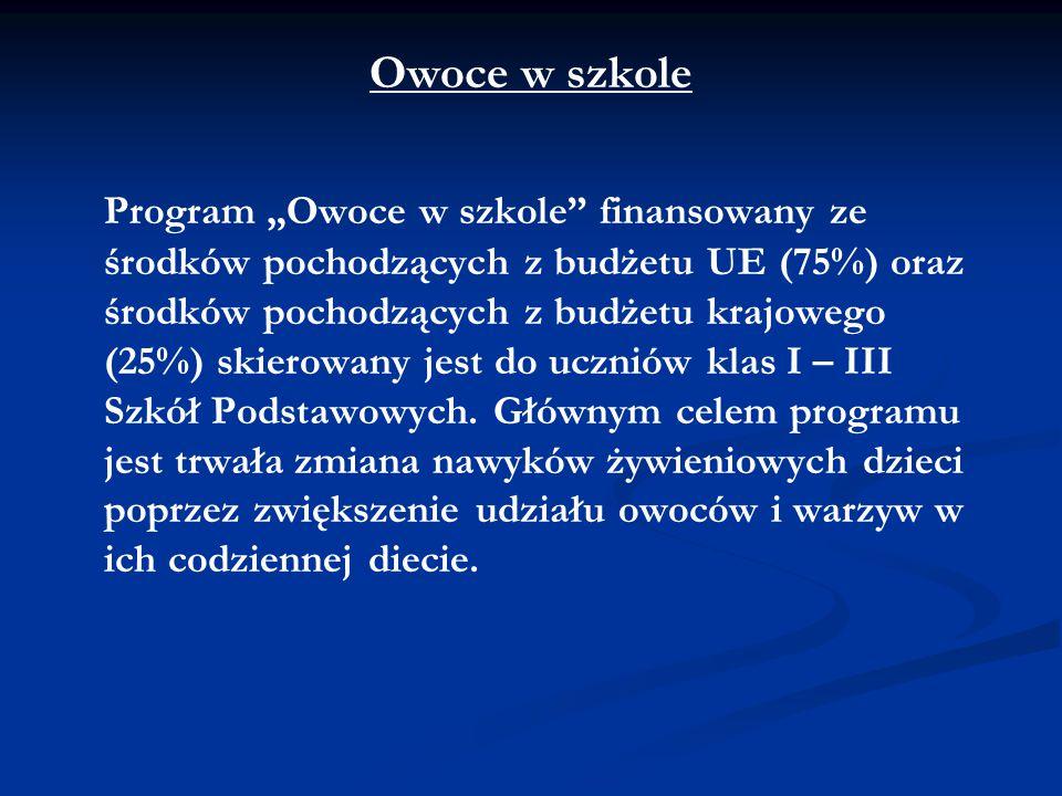 """Owoce w szkole Program """"Owoce w szkole"""" finansowany ze środków pochodzących z budżetu UE (75%) oraz środków pochodzących z budżetu krajowego (25%) ski"""