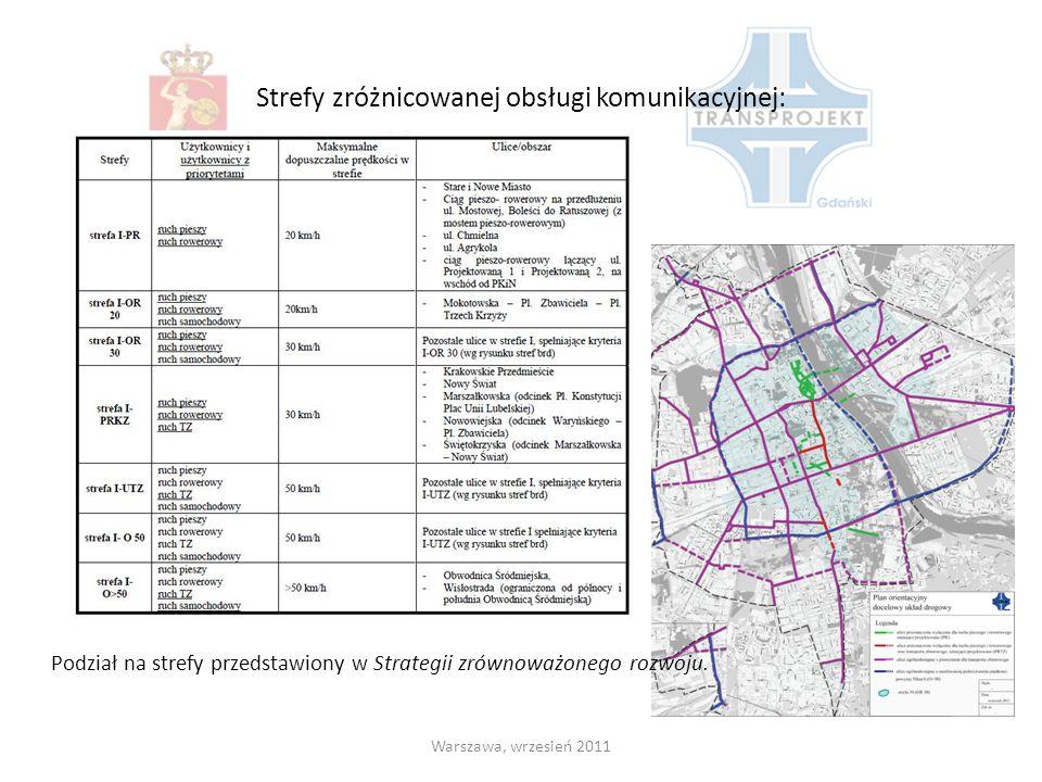 Strefy zróżnicowanej obsługi komunikacyjnej: Warszawa, wrzesień 2011 Podział na strefy przedstawiony w Strategii zrównoważonego rozwoju.