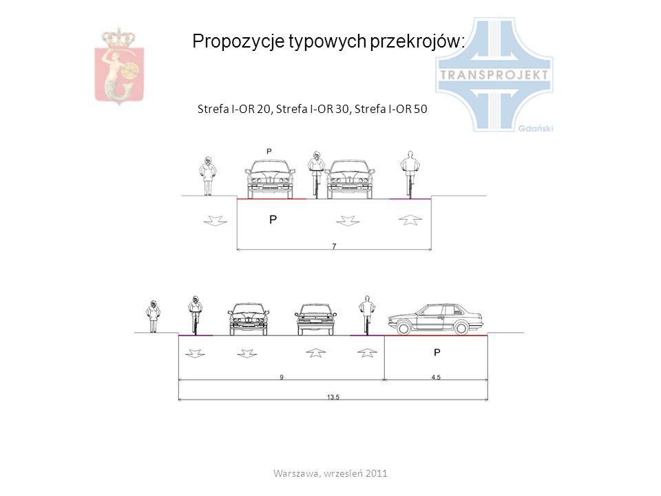 Propozycje typowych przekrojów: Strefa I-OR 20, Strefa I-OR 30, Strefa I-OR 50 Warszawa, wrzesień 2011