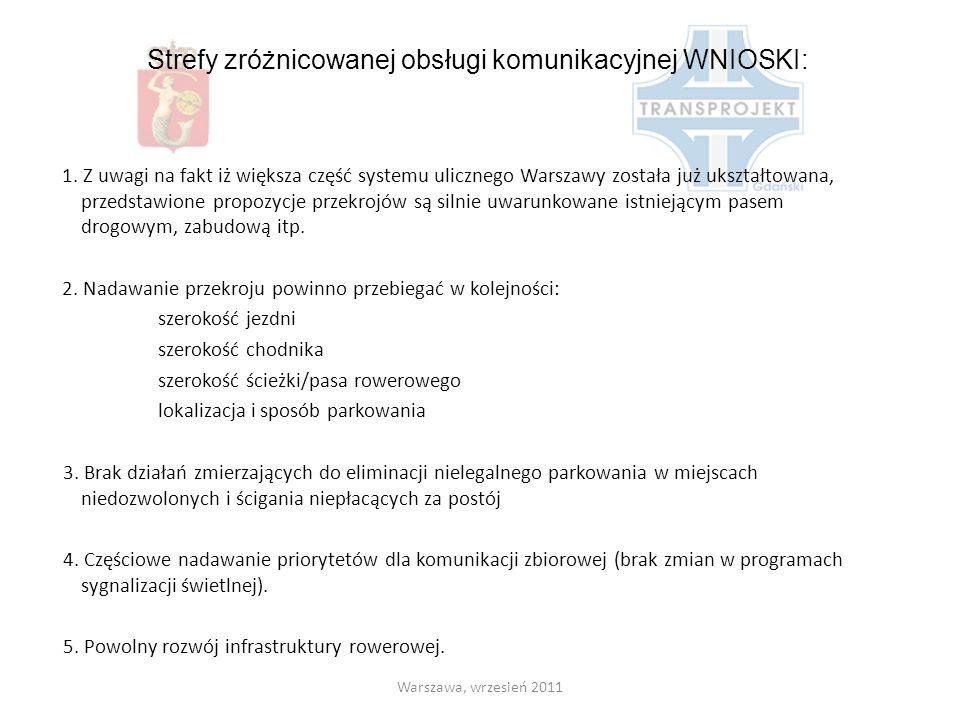 Strefy zróżnicowanej obsługi komunikacyjnej WNIOSKI: 1. Z uwagi na fakt iż większa część systemu ulicznego Warszawy została już ukształtowana, przedst
