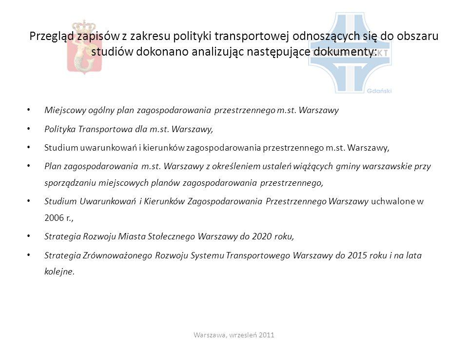Przegląd zapisów z zakresu polityki transportowej odnoszących się do obszaru studiów dokonano analizując następujące dokumenty: Miejscowy ogólny plan zagospodarowania przestrzennego m.st.