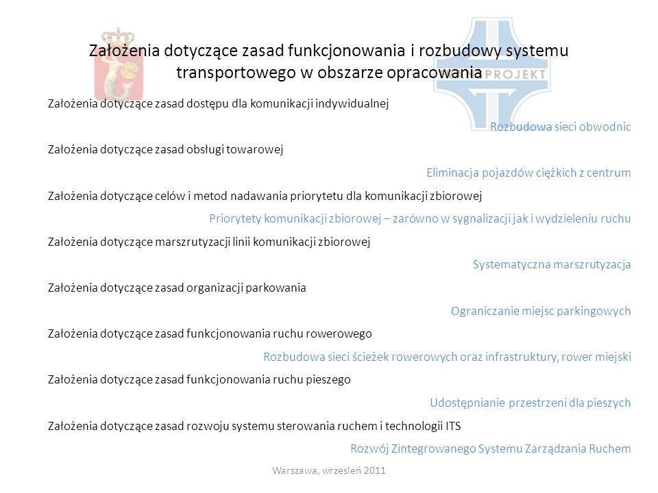 Założenia dotyczące zasad funkcjonowania i rozbudowy systemu transportowego w obszarze opracowania Warszawa, wrzesień 2011 Założenia dotyczące zasad d