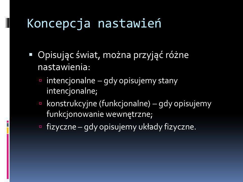 Koncepcja nastawień  Opisując świat, można przyjąć różne nastawienia:  intencjonalne – gdy opisujemy stany intencjonalne;  konstrukcyjne (funkcjonalne) – gdy opisujemy funkcjonowanie wewnętrzne;  fizyczne – gdy opisujemy układy fizyczne.