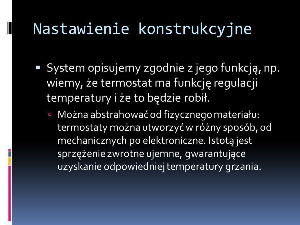 Nastawienie konstrukcyjne  System opisujemy zgodnie z jego funkcją, np.